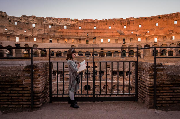 A look back at her developing strengths pre-diagnosis: writing in her journal at Rome's colosseum