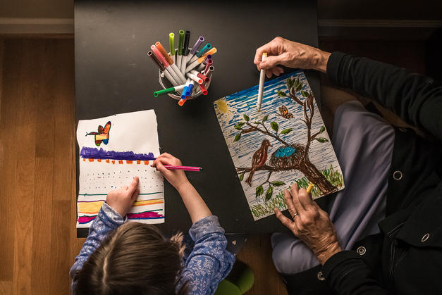 A look back at her developing strengths pre-diagnosis: art lessons from her grandmother