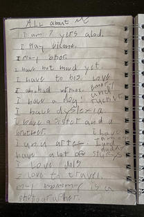 All about me at age 7, the age of her dyslexia diagnosis
