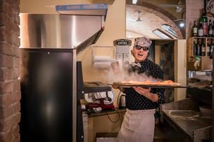 Saverio making pizza