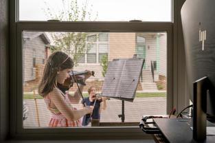 Post diagnosis strength development: social distance COVID violin lesson