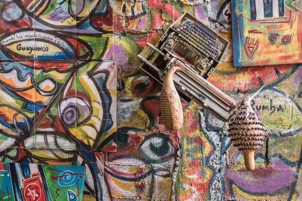 Wall art inside a dance studio in Havana