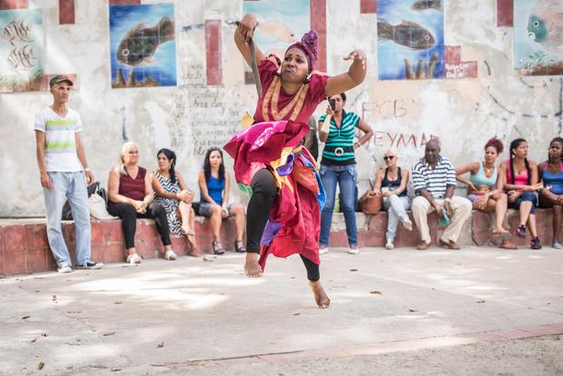 Religious street performance in Havana