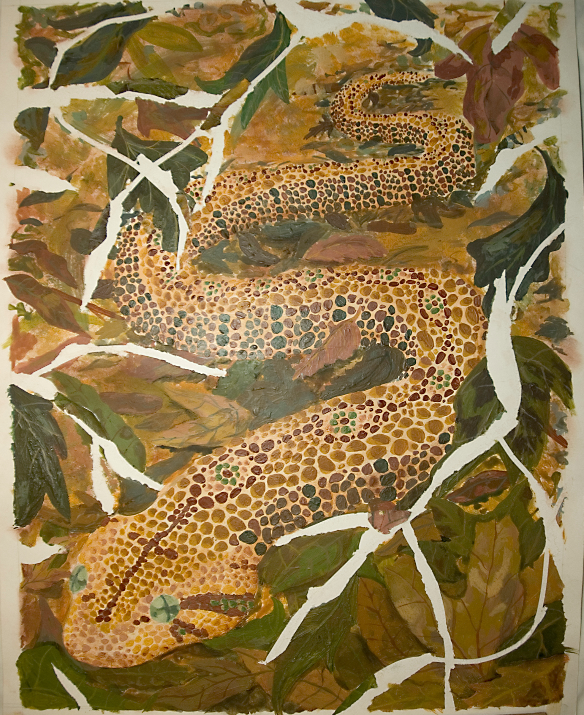 Snake In Leaves