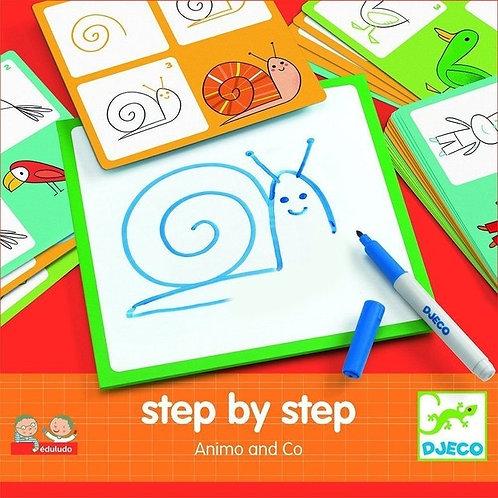Djeco- 'step by step' tekenkaartjes