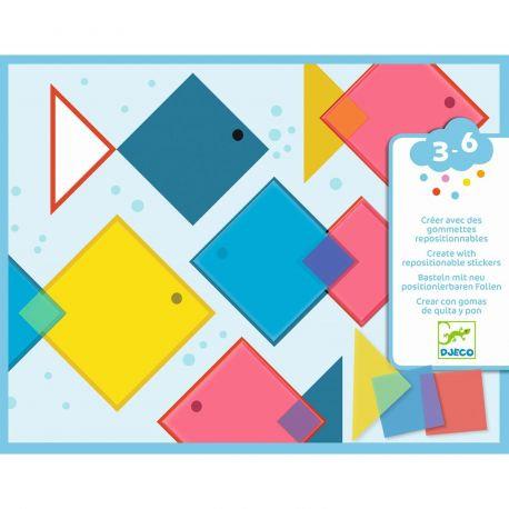 Djeco - Creëren met herbruikbare puffy stickers: magische vierkantjes