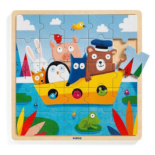 Djeco - Houten puzzel 25stk: dierenboot