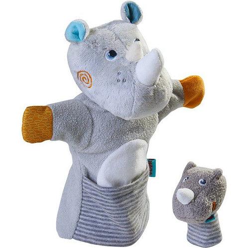 HABA-Handpop Neushoorn met Baby