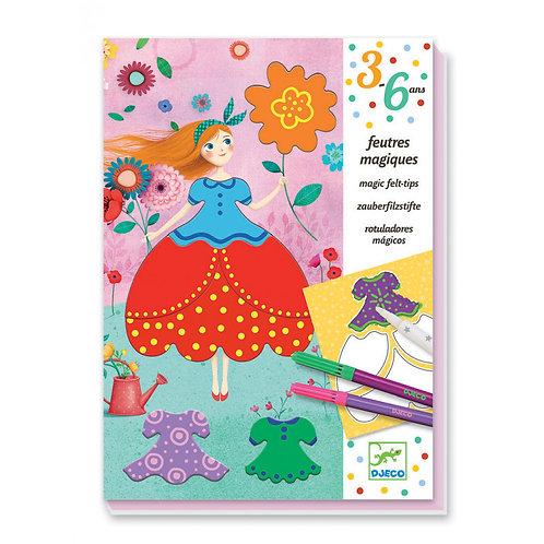 Djeco - Magische viltstiften: Maries mooie jurken