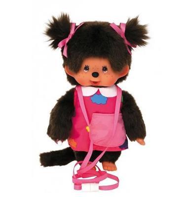 Monchhichi 20 cm Meisje met tasje en draagtouw