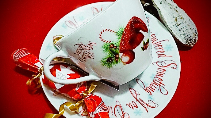 Christmas Tea Cup with Holiday Spice tea