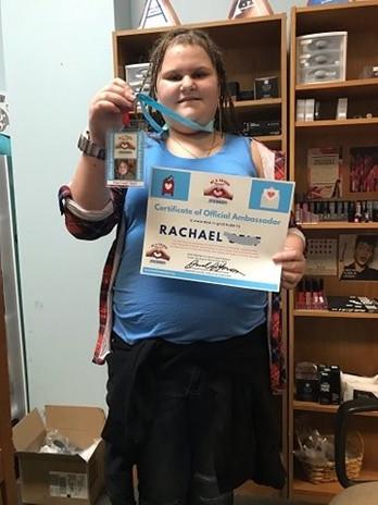 Recipient Rachael earns Official Ambassador Certificate