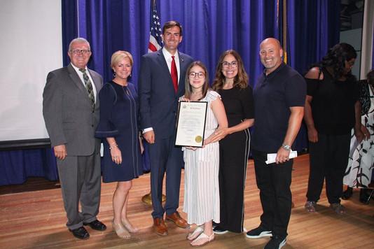 "Brielle earns Assemblyman Schmitt's ""Student of Achievement"" for her anti-bullying work!"