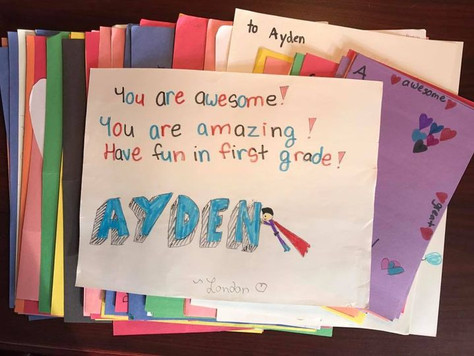 ...collecting 96 letters from her friends and classmates for one Friend Mail Recipient!