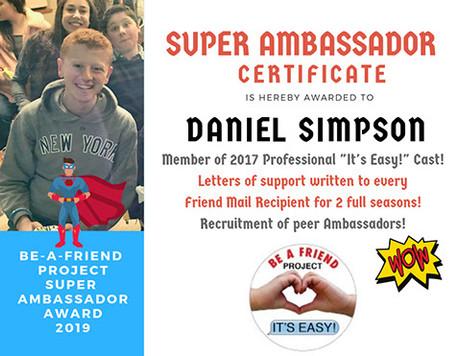 Cast member Daniel Simpson becomes Super Ambassador in 2019!