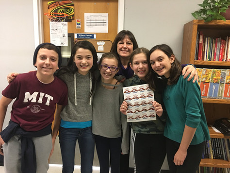 FIVE cast members Aidan, Mika, Kylie, Erin and Kaitlyn help introduce the Project to the Dobbs Ferry Middle School Guidance Department and the No Place For Hate Club!