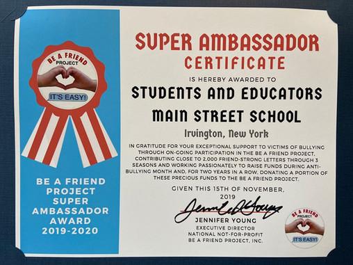 Main Street School becomes a Super Ambassador school!
