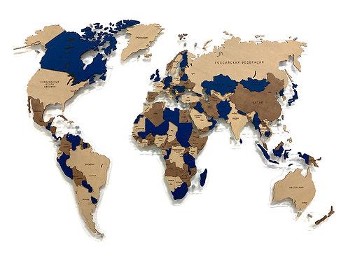 Карта мира многоуровневая в проекции Каврайского (Индиго)
