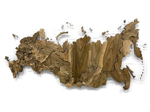 Карта России из массива европейского ореха (многоуровневая)