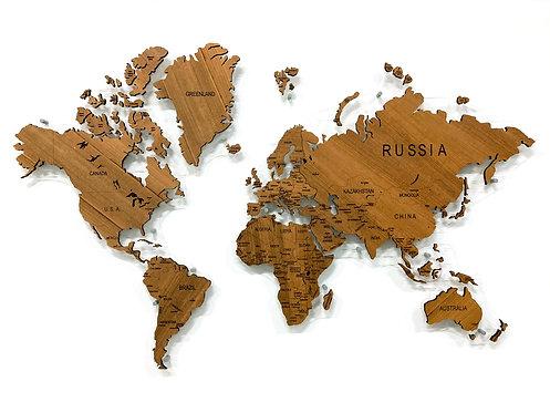 Карта мира из натурального шпона дикорастущего тика