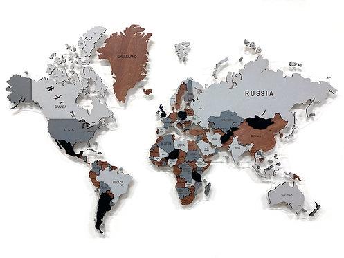 """Многоуровневая деревянная карта мира в расцветке """"Пустынная Саванна"""""""