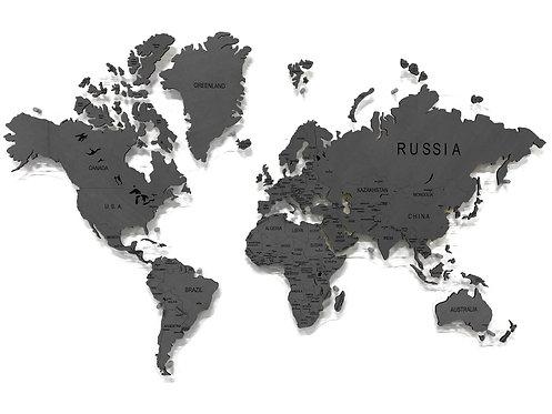 Карта мира из дерева в сером цвете