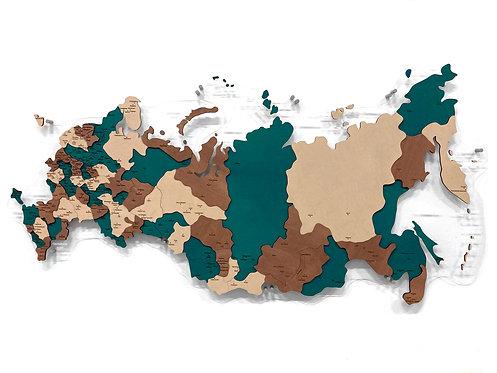 Карта России многоуровневая (Изумрудная)