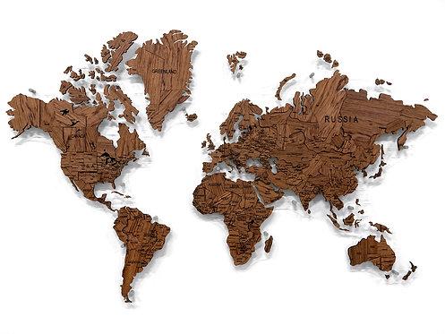 Многоуровневая карта мира из натурального шпона экваториальной Бубинги