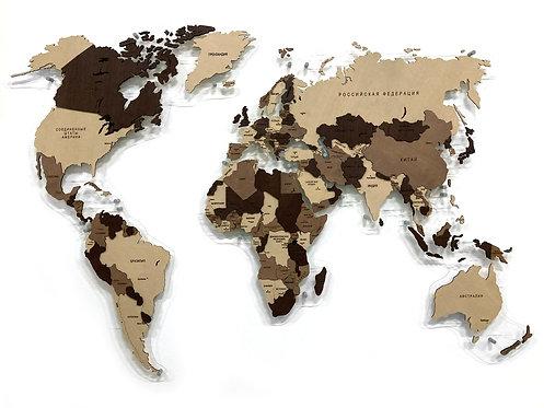 Карта мира многоуровневая в проекции Каврайского (Кофейная)