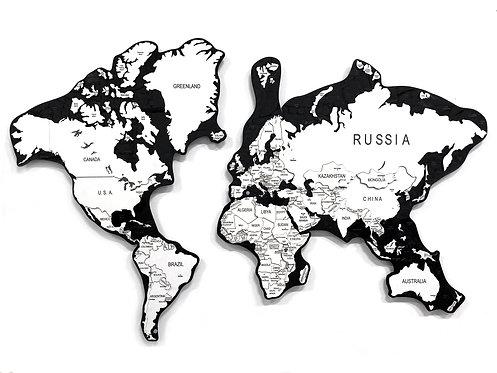"""Карта мира из дерева в расцветке """"Обсидиановая"""""""