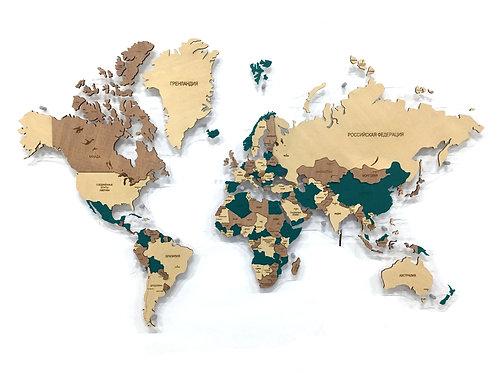 """Деревянная многоуровневая карта мира в расцветке """"Изумрудная"""""""
