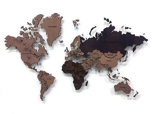 Карта мира многоуровневая (Шоколадная)