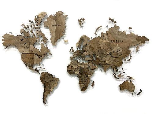Карта мира из массива европейского ореха