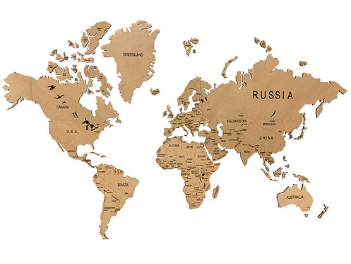 Деревянная карта мира без подложки из оргстекла