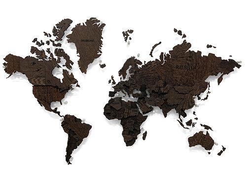 Карта мира из массива Венге (многоуровневая)
