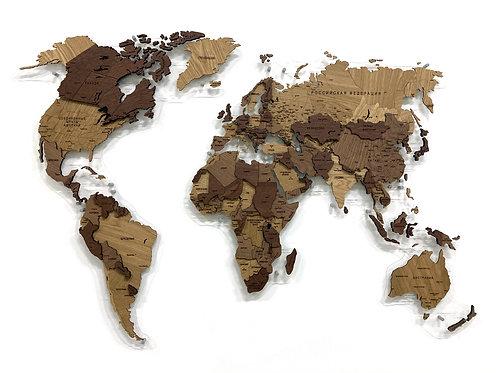 Карта мира из массива дуба в проекции Каврайского (многоуровневая)