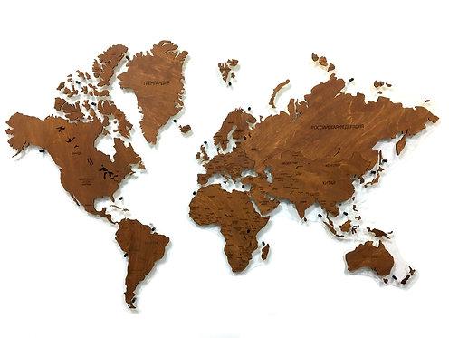 Карта мира из дерева в расцветке Мокко
