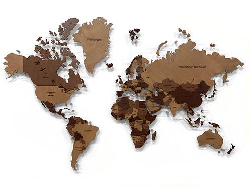 """Карта мира из дерева в расцветке """"Шоколадная"""""""