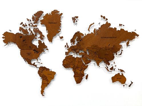 Карта мира многоуровневая (Однотонная)