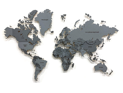 """Деревянная многоуровневая карта мира в расцветке """"Пасмурная"""""""