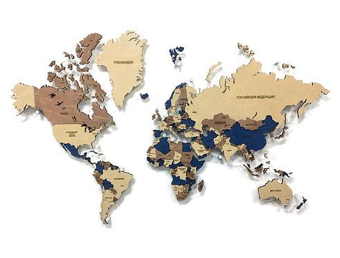 Многоуровневая деревянная карта мира в расцветке Индиго