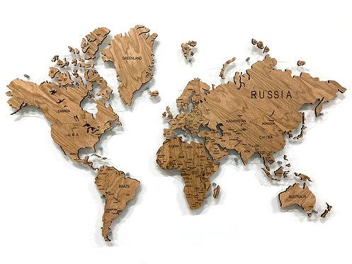 Карта мира из натурального шпона черешни
