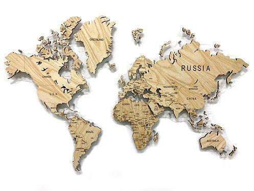 Карта мира из натурального шпона ясеня