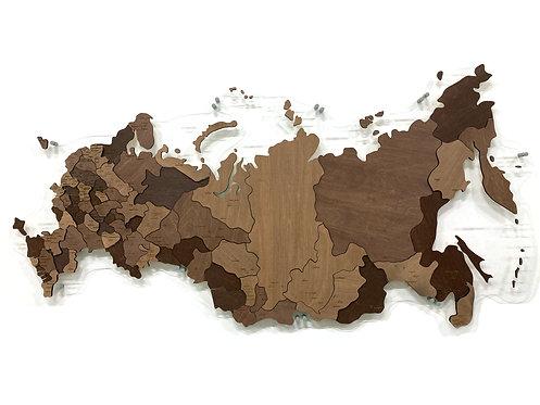 Карта России из дерева в шоколадных тонах