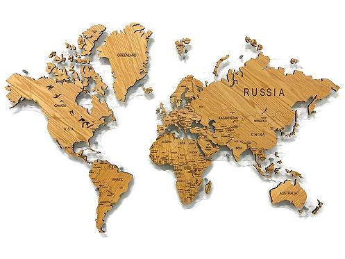 Карта мира из натурального шпона американского красного дуба