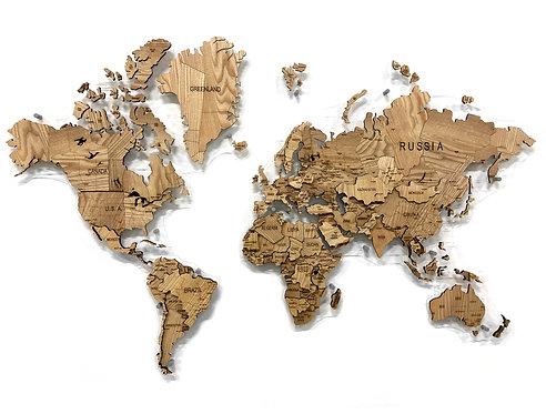 Карта мира из массива ясеня (многоуровневая)