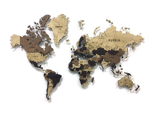 Карта мира из массива дуба (многоуровневая)