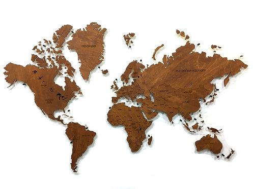 Карта мира одноуровневая (однотонная)