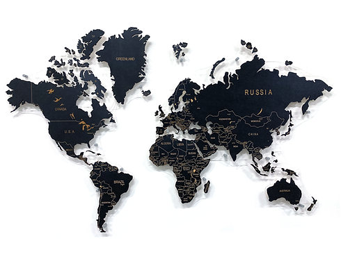 Карта мира черная (с гравировкой цвета дерева)