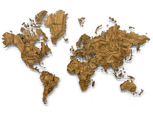 Многоуровневая карта мира из натурального шпона оливкового дерева